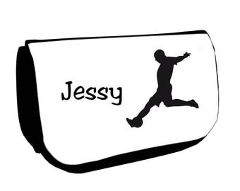 Cosmetic case Black /crayons football personalized with name