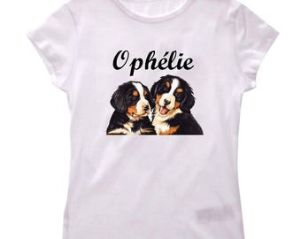 T-shirt girl dogs personalized with name