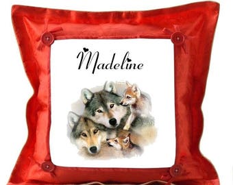 Red wolves pillow personalized with name