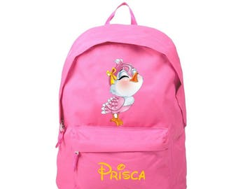 Backpack pink bird personalized with name