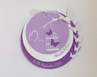 Share wedding round purple and mauve with butterflies