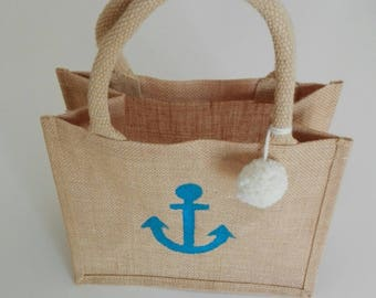 "The small beach bag 100% jute fabric ""Navy ink."