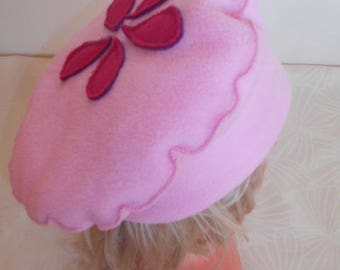 Girl pink and white fleece Hat