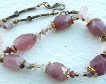 """""""Strawberry quartz"""" necklace"""