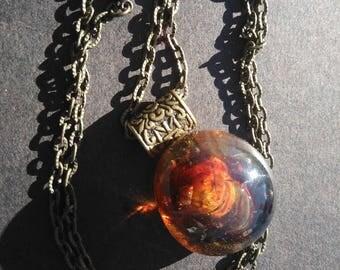 Topaz pendant - amber glass Lampwork + bronze chain