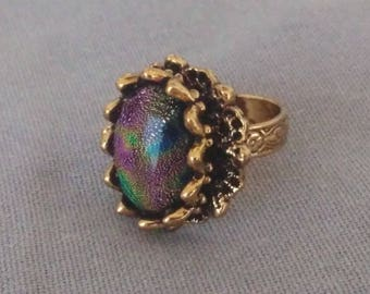 Multicolored Dichroic Glass ring