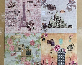 10 sheets of floral, Paris, Eiffel Towers, Pisa, trip to origami 13 * 13cm approx.