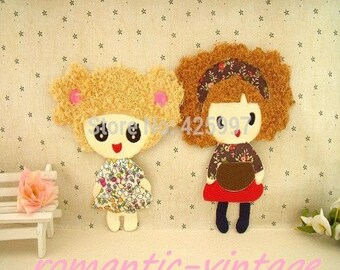 18.7 * 14 cm. cute little girl in mind vintage large transfer on fabric