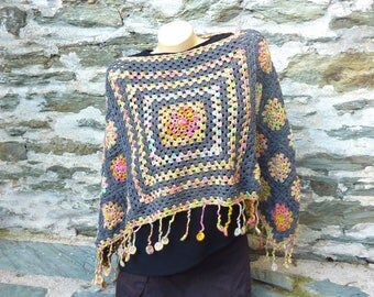 Poncho heater shoulder woman crochet - one size
