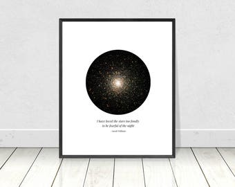 I have loved the stars too fondly, PRINTABLE art, quote art print, poetry quote, contemporary art, stars print, I have loved the stars quote