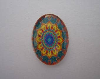25 X 18 mm with image psykadelique colored oval glass cabochon