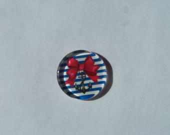 Cabochon 25 mm round and flat sailor image with white and blue bow with red stripe, anchor