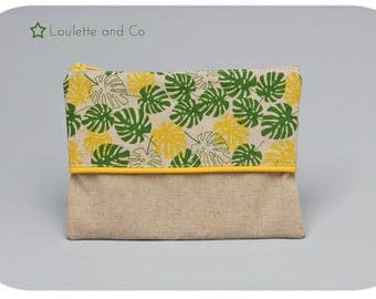 Clutch / pouch in linen with tropical pattern