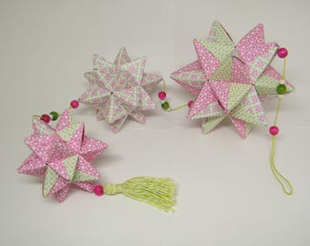 """""""Fuchsia, pink and green meadow"""" Star mobile"""