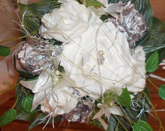 Silver and white bridal bouquet, very pure bridal satin flower