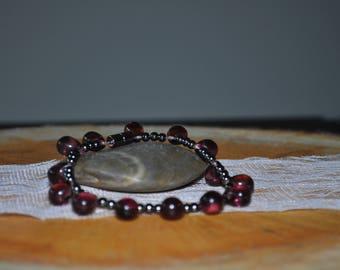 Purple Teardrop Hematite Magnetic Bracelet