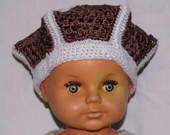 Brown glitter and white children beret