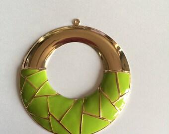 Gold/lime green enamel pendant
