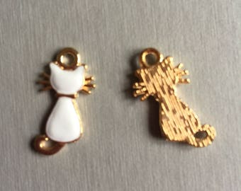 White enamel gold cat