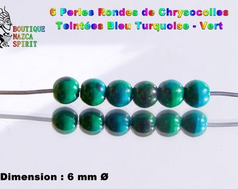 18 beads round 6 mm stone Fine tinted Chrysocolla ∅ turquoise - Green