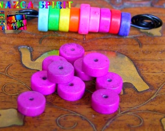 20 wheels dyed Howlite beads 8 mm to ∅ violet purple / thickness: 3 mm