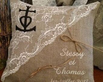 With lace theme camargue linen ring bearer pillow