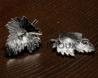 6 supports feuille23x20mm silver plated Stud Earrings