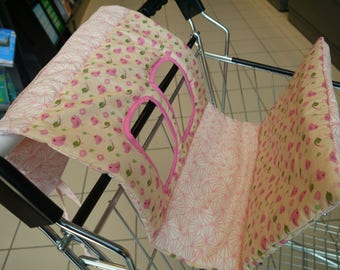 """Protects baby Caddy """"birds in pink, green and white"""" cotton, quilted, roll up"""