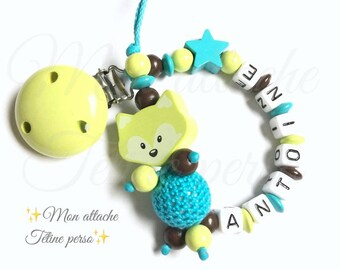 """personalized wooden pacifier ~ model green Fox """"Anthony"""""""