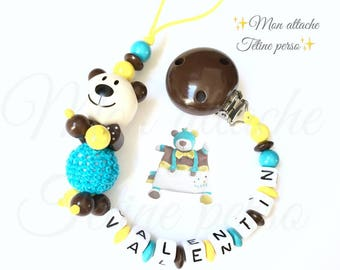 """personalized wooden pacifier ~ bear model """"Valentin"""" Paddy's Day theme"""