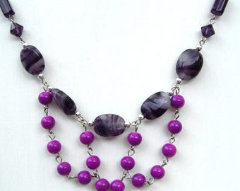 bib necklace purple assorted beads