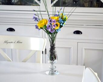 floral composition, bouquet of flowers, table centerpiece, home decor, handmade