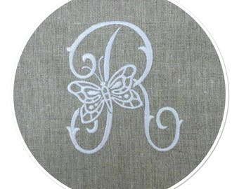 "EMBROIDERED MONOGRAM LETTER ""R"" ADORNED WITH A BUTTERFLY EMBROIDERY WHITE LINEN SQUARE"
