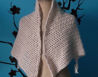 small hand crocheted beige shawl