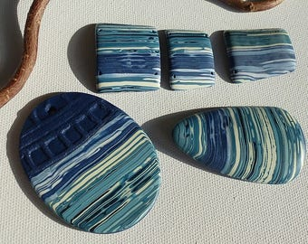 set of pendants for necklaces, blue and white striped