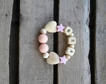 Bracelets personalized with name in wood