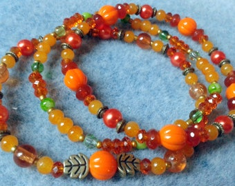 The little Pumpkin orange and green Bohemian bracelet