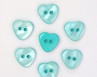 Heart 15mm set of 10 buttons: Turquoise - 002217