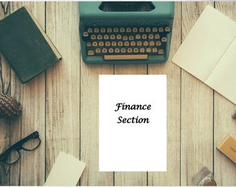 Finance Section for Home Management Binder