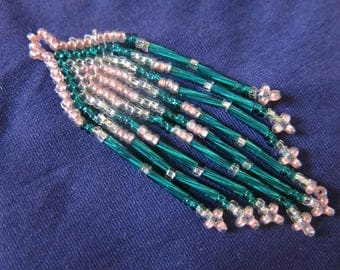 Mexican artisan handcrafted 7/2.2 cm woven beads seed beads, trade, Mexican charm, mexican pendant