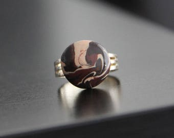 "Ring ""Choco marble"" Fimo"
