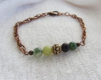 metal chain bracelet and beads jade gemstones, aventurine and amazonite in green and Brown, ornate copper metal chain