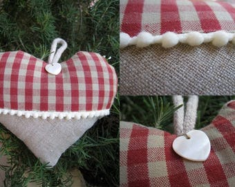heart hanging squared paper and linen