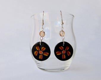 painted flowers on black, beige Pearl Earrings