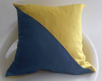 35 x 35 cm yellow and blue/grey linen pillow cover