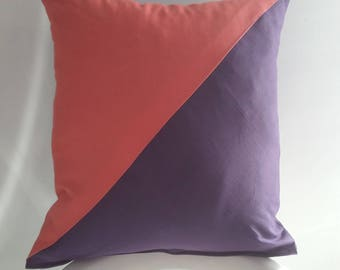 Cushion cover 40 x 40 cm coral and purple