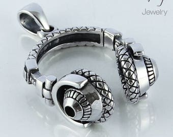 3D DJ HEADPHONES 925 Sterling Silver Pendant Disc Jockey Music Mens Gift 17.5g New