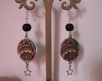 CLEARANCE black cabochon 25mm star bead earrings