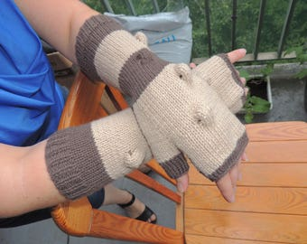 Fingerless mittens with pattern of bubbles, two-tone, gift idea for women, vegan