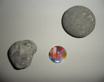 glass cabochon with colorful abstract patterns, 25 mm round
